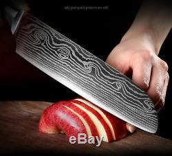 Ensemble De Couteaux 8 Cuisines Japonais Damas Couteaux En Acier Harpe $ Couteau Couperet Cadeau
