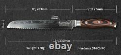 Ensemble De Couteaux Couteaux De Cuisine 67 Couches En Acier Damas Vg10 De Base Chef De Santoku 6pcs XL