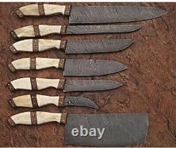 Ensemble De Couteaux De Cuisine 7pieces Handmade Hand Forged Damascus Steel Chef Knife Set