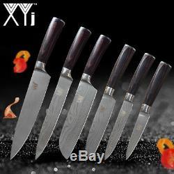 Ensemble De Couteaux En Acier Inoxydable 6pcs Damas Motif Chef De Cuisine Santoku Utility Cut