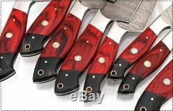 Est Personnalisé Damas Acier 8 Pcs Rouge Chef / Couteau De Cuisine Mis Cleaver 1040-8