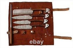 Eye Catching Custom Made Damascus Steel 5pcs. Couteaux De Cuisine Set & Cary Bag 1034