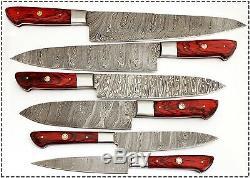 Fabriqué À La Main Sur Mesure Lame Damas 6 Pièces Couteau De Cuisine Couteau De Chef Set 1071 Rouge