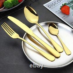 Gold Silverware Set 24pièces Or Forgé En Acier Inoxydable Gold Flatware Set I New