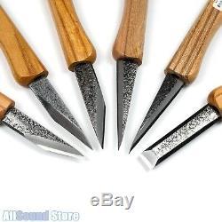 Japonais Kogatana Sculpture Sur Bois Set Couteau Couteaux Enroulable Sac, Ensemble De 6 Nouveau