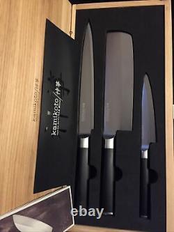 Kamikoto Kanpeki Couteau 3 Pièces Mis Dans La Boîte En Bois Nouveau! Honshu Steel Japonais