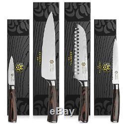 Kessaku 4 Ensemble De Couteaux Japonais -samurai Series- Gravé Haut En Acier Au Carbone