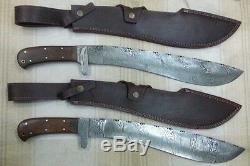 King Personnalisé Main Couteau Damas Machete Épée 2 Pcs Set