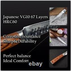 Knife Set 2 Pcs Chef Paring Knife Japonais Damas Vg10 Couteaux De Cuisine En Acier