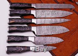 L'ensemble De Damas Couteau De Cuisine En Acier Avec Du Cuir Sac Rasoir Pd-1049-6