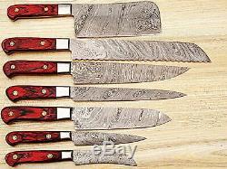 Lame Damas Fait Main Cuisine Couteau De Chef, Set De 07pcs