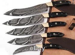 Main Forge Damas Acier Couteaux De Cuisine Couteau De Chef Set Withbull Laiton Corne Handl