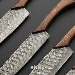 Modèle Unique Fait Main Damas Steel Chef Couteaux Ensemble Avec Gaine 786-125