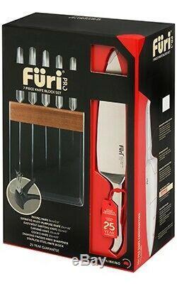 New Furi Pro En Acier Inoxydable 7pc Bloc Couteaux + Ozitech Diamant Sharpener 413