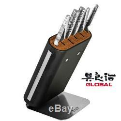 New Global Hiro Black 7pc Bloc Couteaux Japonais Couteaux En Acier Inoxydable