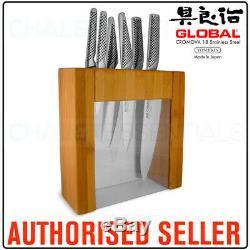 New Global Ikasu 7 Piece En Acier Inoxydable Bambou Bloc Couteaux Couteaux Japon
