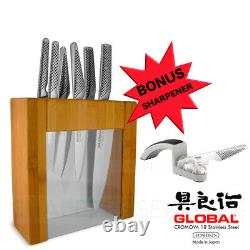 New Global Ikasu Bloc Couteaux En Acier Inoxydable Japonais + S Mino Sharpener