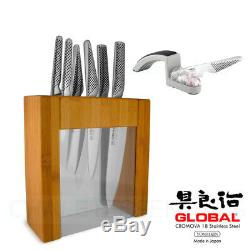 New Global Ikasu Plus Mino Sharpener Bloc Couteaux 7 Pièces En Acier Inoxydable