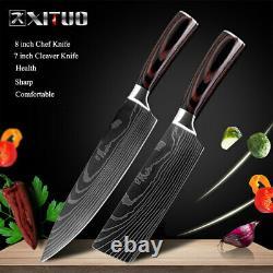 Nouveau Kit De Couteau De Chef De Cuisine En Acier Inoxydable Damas Pattern Sharp Cleaver Cadeau