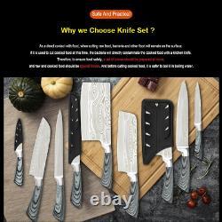 Nouveaux 9pc Japonais Damascus Pattern Stainless Steel Chef Knife Kitchen Knives Set