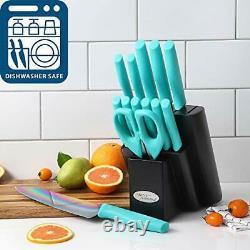 Rainbow Titanium Blade Knives Set Turquoise Handle Wooden Block Premium