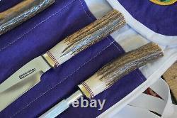Randall Made Couteaux Couteau Modele 6-9 Carving Set Withfork, Acier, Fourreau Case Stag