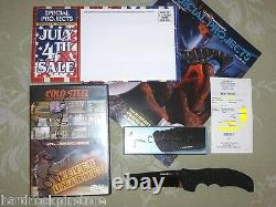 Rare 300 Signé Cold Steel Xhp Recon 1 Tanto Point DLC Knife 27tlcth + 6 DVD Set
