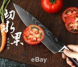 Santoku Cuisine En Acier Inoxydable Laser Damas Professionnel Couteau De Chef Japonais