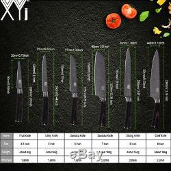 Santoku Gyuto Chef De 6pcs Ensemble De Couteaux De Cuisine En Bois Laser En Acier Inoxydable Japonais XL
