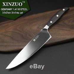 Set De Couteaux Couteaux De Cuisine Japonaise Couches Allemande De Cuisine En Acier Avec Manche En Bois 6pcs Bord