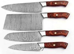 Sharpworld Professional 4 Pièces Couteau De Chef En Acier De Damas Fabriqué À La Main- Meilleur Kit