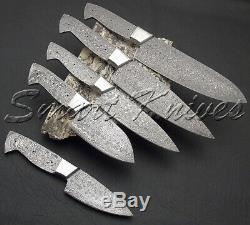 Smart Couteaux A La Main En Acier Damas De Cinq Pc Set Couteau Cuisine Brutes Chef