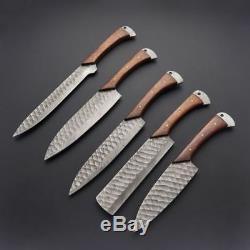 Style Unique Personnalisé Main Acier De Damas Couteaux De Cuisine Set Avec Étui