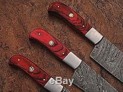 Sur Mesure Damas Blade Couteau De Cuisine 3 Pc Set 1002-rouge
