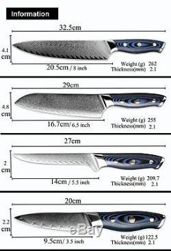 Tang Complet Japonais Couteau De Cuisine Ensemble Vg10 Damas En Acier 67 Couches 4pcs Couteaux L