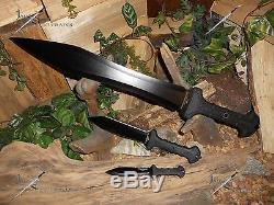 United Cutlery / Épée / Machete / Bowie / Couteau / Full Tang / 1060 Acier Au Carbone / 3 Combo Set