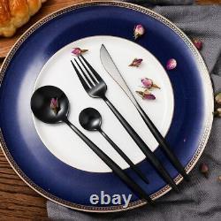 Vaisselle En Acier Inoxydable Set Black Matte Knife Spoon Fork Cutlery Kitchen 24pc