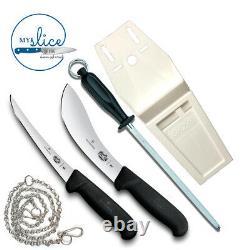 Victorinox 2 Piece Butcher Knife Set, 10 Acier, Pochette Plate Et Chaîne Inoxydable