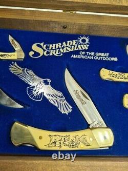 Vintage / Rare Coffret Cadeau Set Schrade Old Timer USA Pliant & Couteau À Lame Fixe