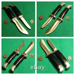 Vtg Hunt Buck 1 Line Blade Dble Gaine #117 Trophy Set 2 Couteaux Et Étui À Plis