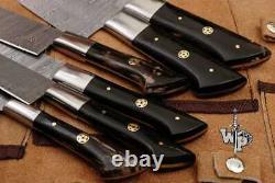 Wp-1071 Couteaux De Cuisine Faits À La Main Sur Mesure En Acier De Damas Lots De 6