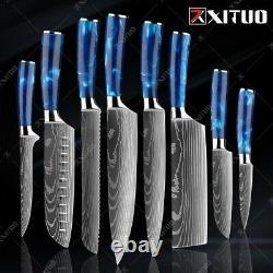 Xituo Couteau De Cuisine Set Couteaux De Chef Japonais 7cr17 Laser En Acier Inoxydable Damascu